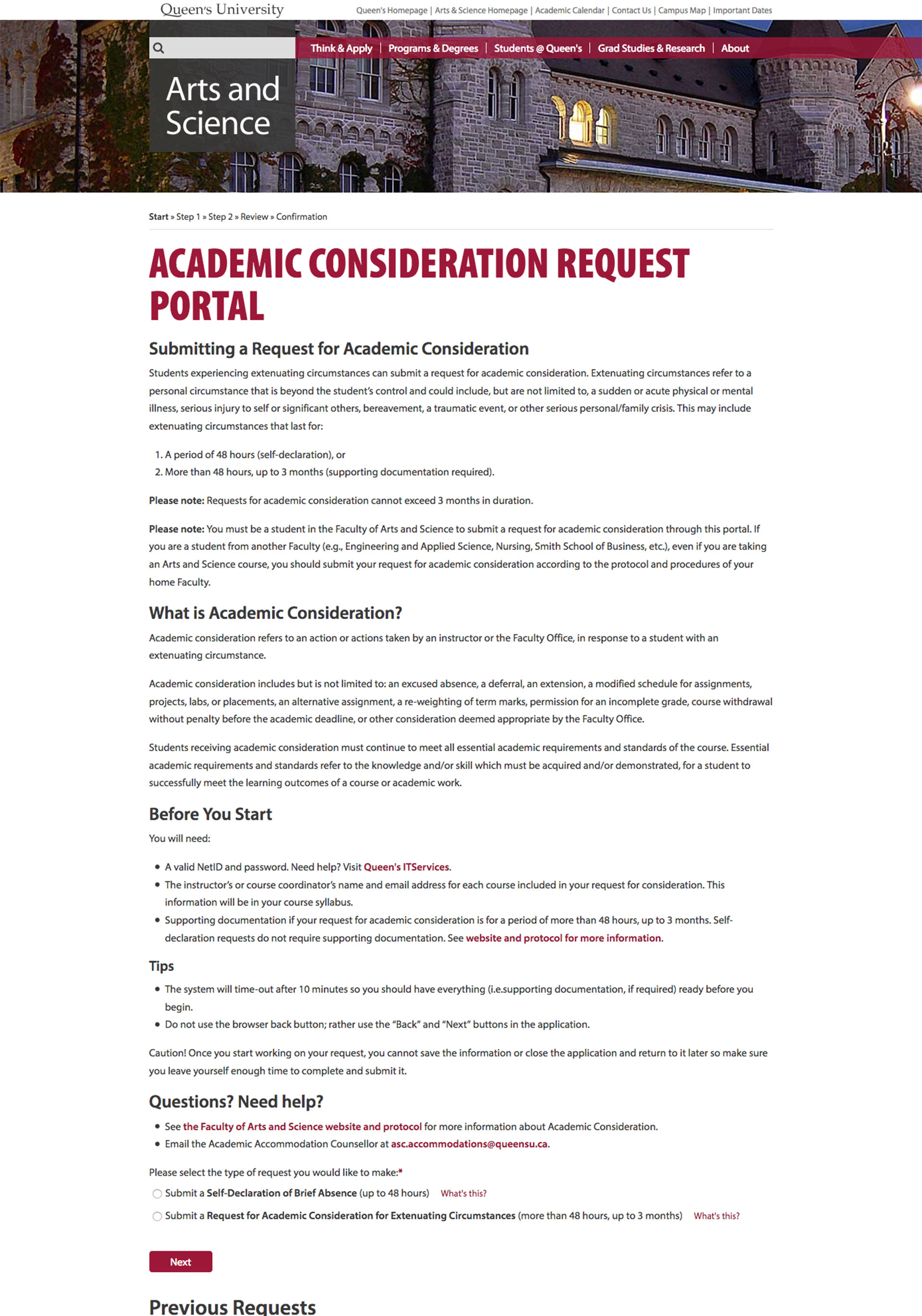 Academic Consideration Request Portal