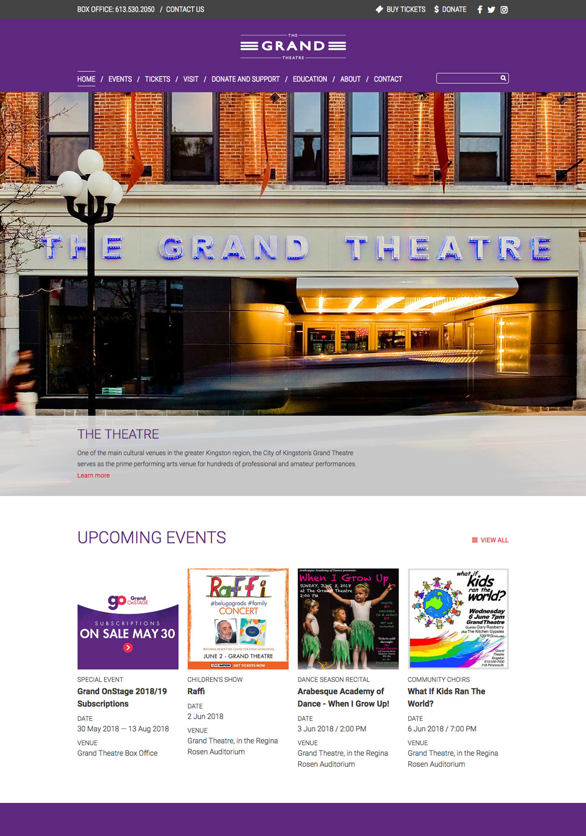 Grand Theatre Website Redesign