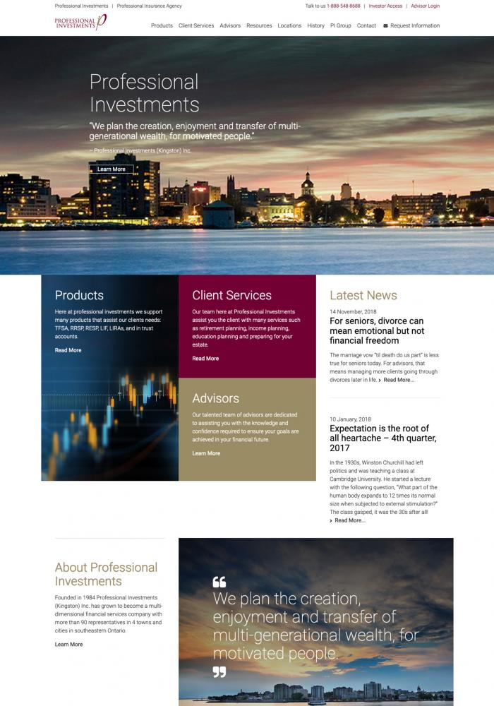 Professional Investments Website Redesign
